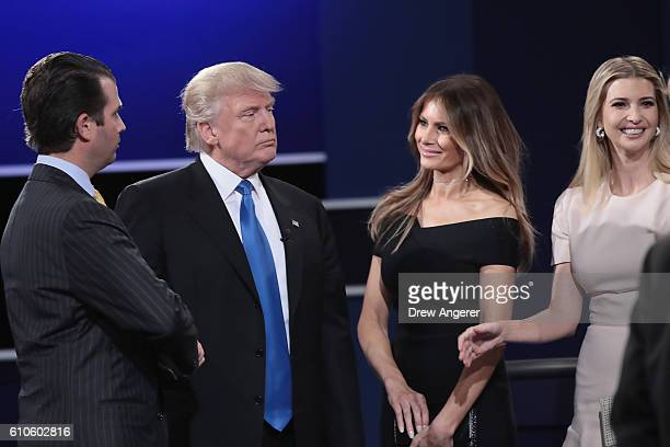 Republican presidential nominee Donald Trump looks on with wife Melania Trump daughter Ivanka Trump and son Donald Trump Jr after the Presidential...