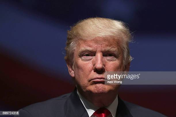 Republican presidential nominee Donald Trump pauses during a campaign event September 6 2016 in Virginia Beach Virginia Trump participated in a...