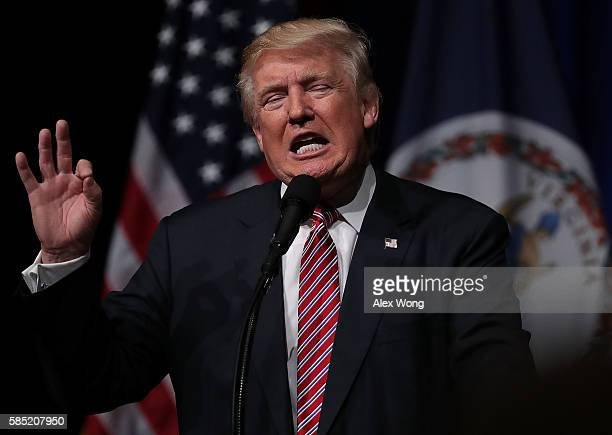 Republican presidential nominee Donald Trump speaks at a campaign event at Briar Woods High School August 2 2016 in Ashburn Virginia Trump continued...