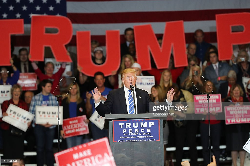Republican presidential nominee Donald Trump speaks at a rally on September 28, 2016 in Waukesha, Wisconsin. Trump has been campaigning today in Iowa, Wisconsin and Chicago.