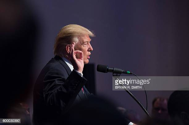 Republican presidential nominee Donald Trump speaks at the New York State Conservative Party Presidential Convention at the Marriott Marquis on...