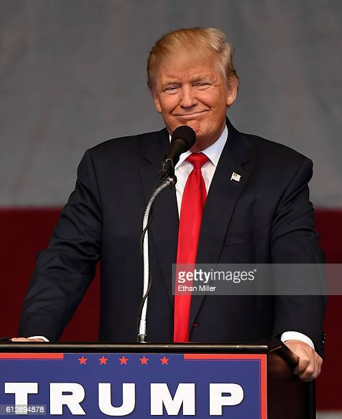 Republican presidential nominee Donald Trump speaks during a campaign rally at the Henderson Pavilion on October 5 2016 in Henderson Nevada Trump is...