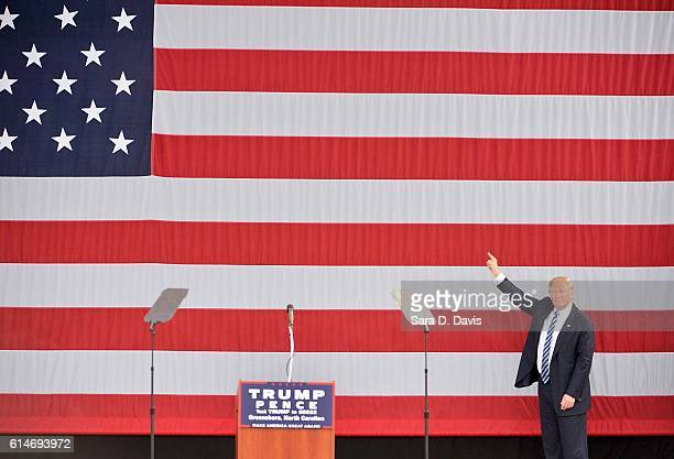 Republican presidential nominee Donald Trump speaks during a campaign event on October 14 2016 in Greensboro North Carolina Trump claimed journalists...