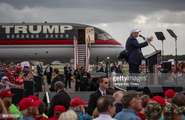 Republican presidential nominee Donald Trump speaks during a rally at Lakeland Linder Regional Airport in Lakeland Florida on Wednesday October 12...