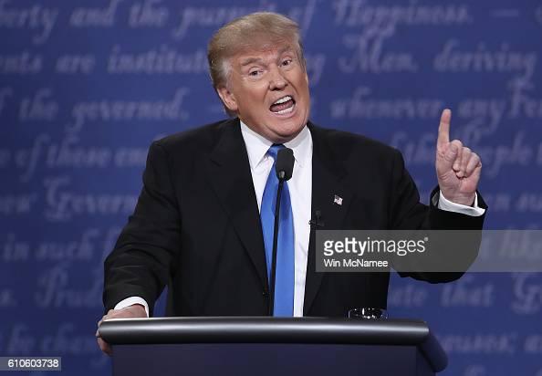 Republican presidential nominee Donald Trump speaks during the Presidential Debate at Hofstra University on September 26 2016 in Hempstead New York...