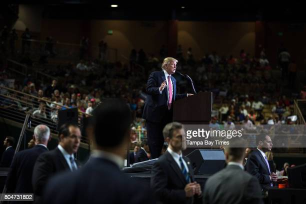 Republican presidential nominee Donald Trump speaks on stage during a campaign rally at Silver Spurs Arena in Kissimmee Florida August 11 2016