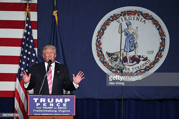Republican presidential nominee Donald Trump speaks to voters during a campaign rally at Fredericksburg Expo Center August 20 2016 in Fredericksburg...