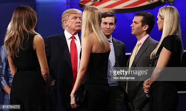 Republican presidential nominee Donald Trump stands on stage with his wife Melania Trump businessman Jared Kushner Donald Trump Jr and his wife...