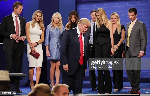 Republican presidential nominee Donald Trump walks off stage as Eric Trump Lara Yunaska Vanessa Trump Melania Trump businessman Jared Kushner Ivanka...