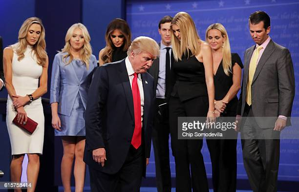 Republican presidential nominee Donald Trump walks off stage as Lara Yunaska Vanessa Trump Melania Trump businessman Jared Kushner Ivanka Trump...