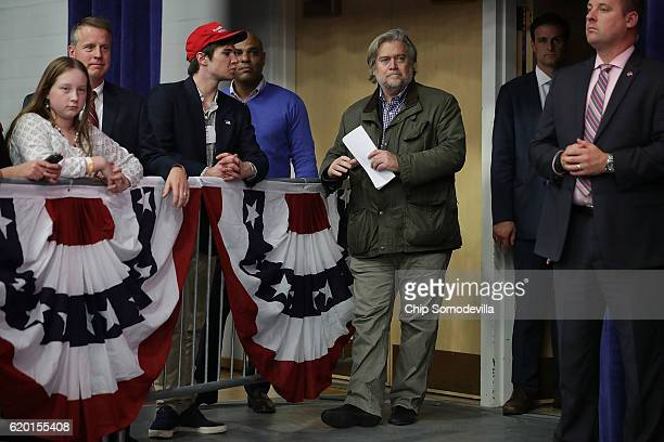 Republican presidential nominee Donald Trump's campaign CEO Steve Bannon attends a campaign rally at the WL Zorn Arena November 1 2016 in Eau Claire...