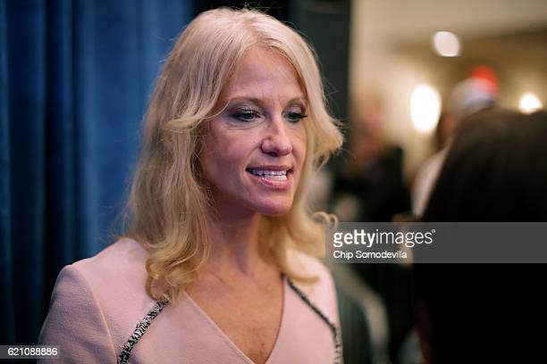 Republican presidential nominee Donald Trump's campaign manager Kellyanne Conway talks with a reporter during a campaign rally at the Atkinson...