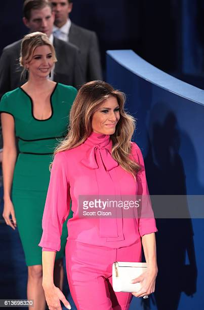 Republican presidential nominee Donald Trump's wife Melania Trump daughter Ivanka Trump son Eric Trump and son Donald Trump Jr arrive before the town...