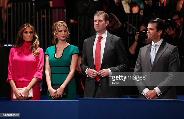 Republican presidential nominee Donald Trump's wife Melania Trump daughter Ivanka Trump son Eric Trump and son Donald Trump Jr attend the town hall...
