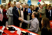 Republican presidential nominee Sen John McCain shakes hands with volunteers and thanks them for their time and work at a campaign call center...