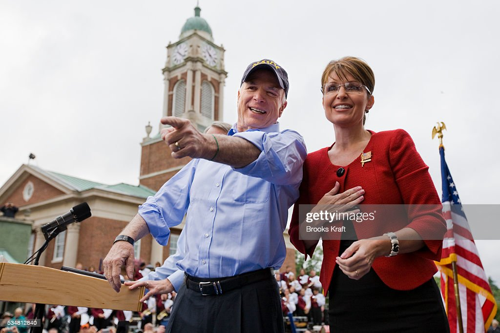 US Republican presidential nominee Senator John McCain and Republican US vicepresidential nominee and Alaska Governor Sarah Palin attend a rally in...