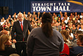 Republican presidential nominee US Sen John McCain takes a question at a town hall meeting at the Sheraton Hotel downtown October 2 2008 in Denver...
