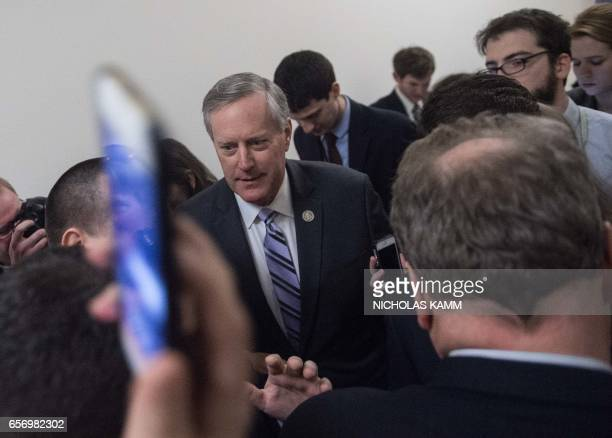US Republican Representative from North Carolina Mark Meadows speaks to reporters after a meeting of the House Freedom Caucus to discuss the...