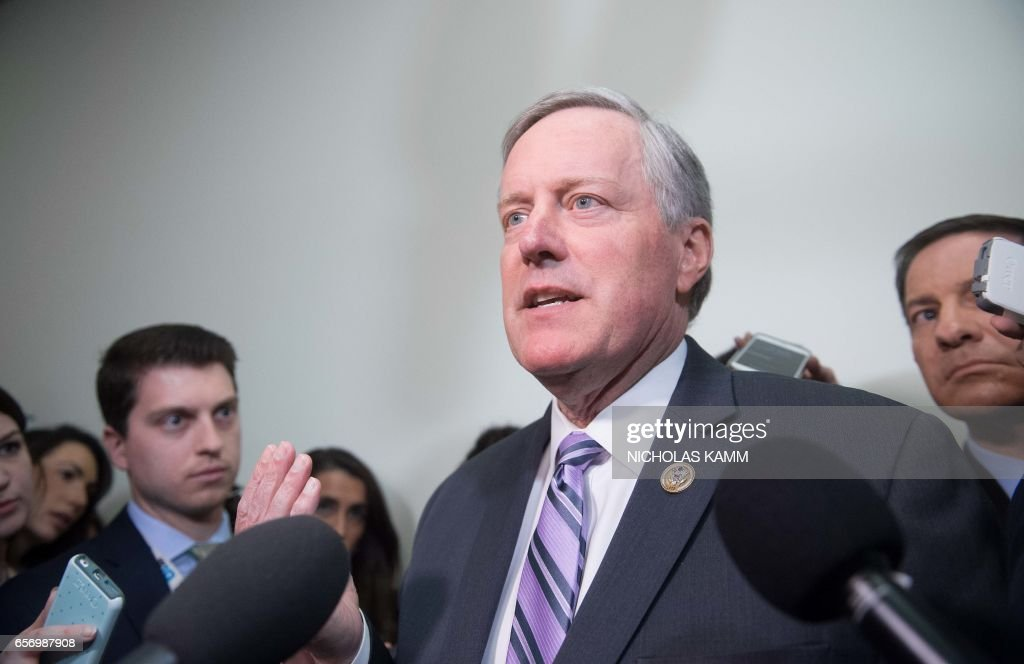US Republican Representative from North Carolina Mark Meadows speaks to reporters after a meeting of the House Freedom Caucus to discuss the healthcare bill on Capitol Hill in Washington, DC, on March 23, 2017. /