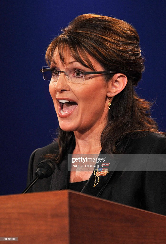 Republican Sarah Palin participates in the vice presidential debate with Democrat Joseph Biden on October 2, 2008 at Washington University in St. Louis, Missouri. Vice presidential nominees Palin and Biden clashed at their crucial vice presidential debate, with the Alaska governor under pressure to quell questions about her knowledge and experience.