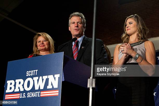 Republican Senate candidate Scott Brown accompanied by his family gives his concession speech to supporters at the Republican Victory Party at the...
