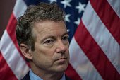 US Republican Senator from Kentucky Rand Paul attends a press conference to announce new bipartisan legislation to allow patients doctors and...