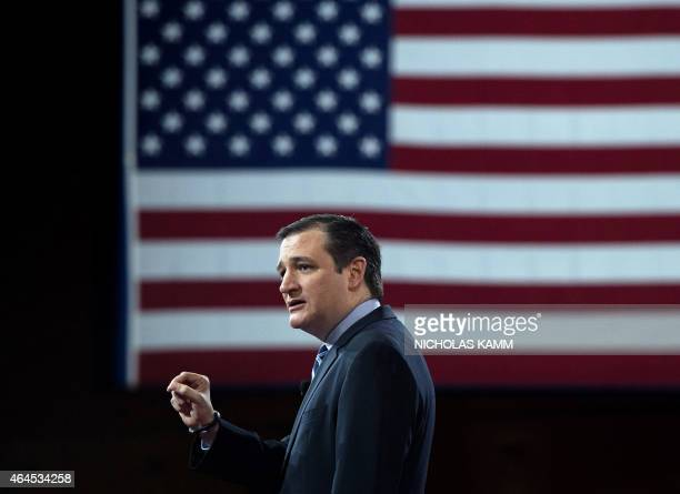 US Republican Senator from Texas Ted Cruz addresses the annual Conservative Political Action Conference with conservative political commentator Sean...