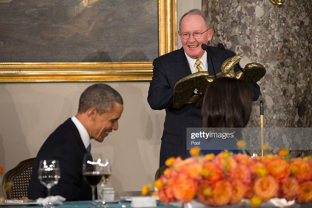 US Republican Senator Lamar Alexander (R) from Tennessee addresses US President Barack Obama during the Inaugural Luncheon in Statuary Hall on Inauguration day at the U.S. Capitol building January 21, 2013 in Washington D.C. President Barack Obama and Vice President Joe Biden were ceremonially sworn in for their second term today.