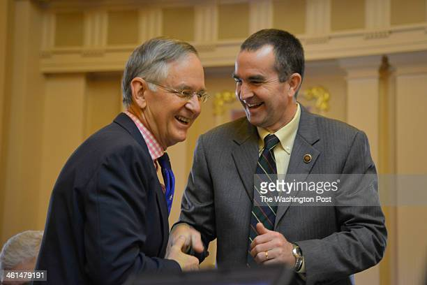 Republican Senator Thomas Norment L greets Democrat Lt Governorelect Ralph Northam R as Virginia's General Assembly reconvenes following holiday...