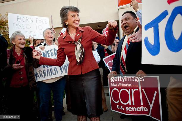 Republican senatorial candidate and former head of HewlettPackard Carly Fiorina greets supporters outside a GOP candidate phone bank November 1 2010...