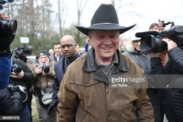 Republican Senatorial candidate Roy Moore arrives to cast his vote at the polling location setup in the Fire Department on December 12 2017 in...