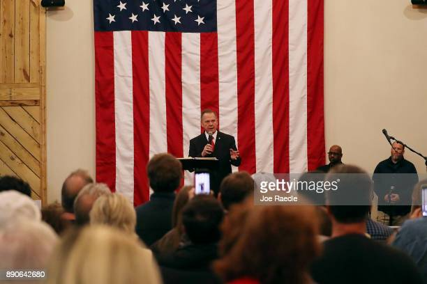 Republican Senatorial candidate Roy Moore speaks during a campaign event at Jordan's Activity Barn on December 11 2017 in Midland City Alabama Mr...