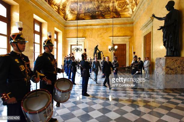Republican stand as French National Assembly Francois de Rugy arrives at the 'salle des pas perdus' at the French National Assembly on August 1 2017...