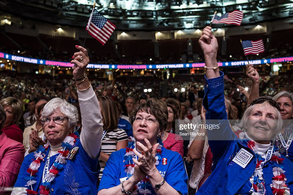 Republican supporters applaud a speaker at the Heritage Action Presidential Candidate Forum September 18 2015 in Greenville South Carolina Eleven...