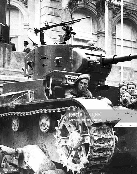 Republican tanks on the streets of a Spanish city during the Civil War 1936