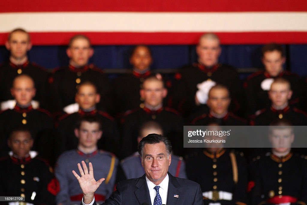 Republican U.S. presidential candidate and former Massachusetts Governor <a gi-track='captionPersonalityLinkClicked' href=/galleries/search?phrase=Mitt+Romney&family=editorial&specificpeople=207106 ng-click='$event.stopPropagation()'>Mitt Romney</a> speaks during a rally at Valley Forge Military Academy and College September 28, 2012 in Wayne, Pennsylvania. Romney continued to campaign for his run for the White House in the battleground state of Pennsylvania.