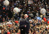 Republican US presidential nominee US Sen John McCain stands on stage with Republican US vicepresidential nominee Alaska Gov Sarah Palin on day four...