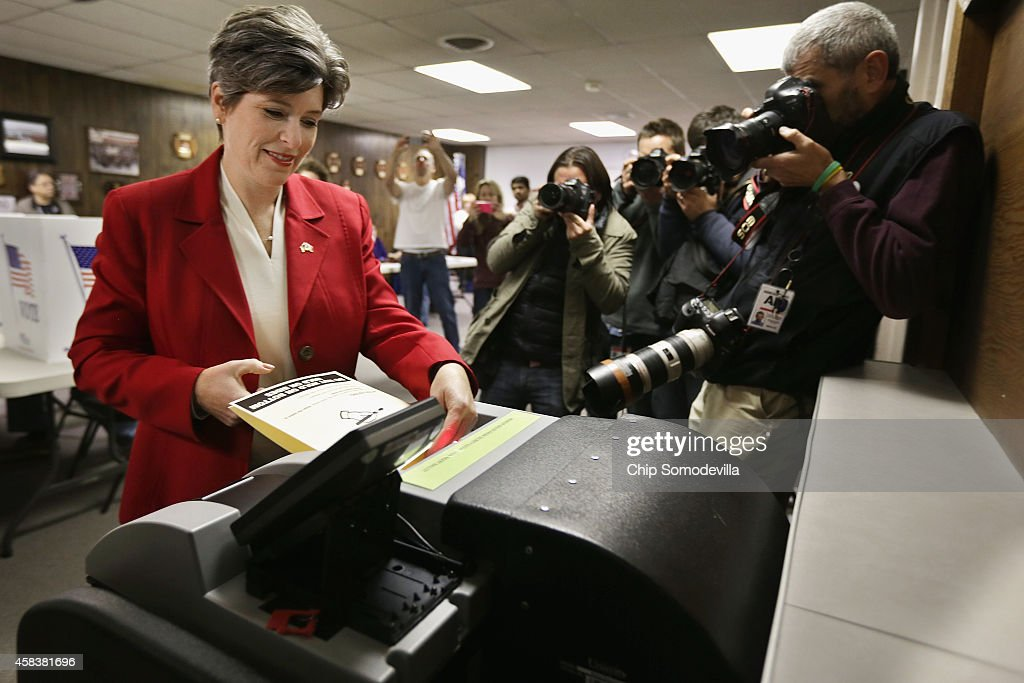 Republican U.S. Senate candidate Joni Ernst casts her ballot on election day at the polling place in her hometown fire department November 4, 2014 in Red Oak, Iowa. According to the polls, Ernst is in a neck-and-neck race with her opponent, Democratic candidate Rep. Bruce Braley (D-IA), and the election in Iowa could decide which party controls the U.S. Senate.