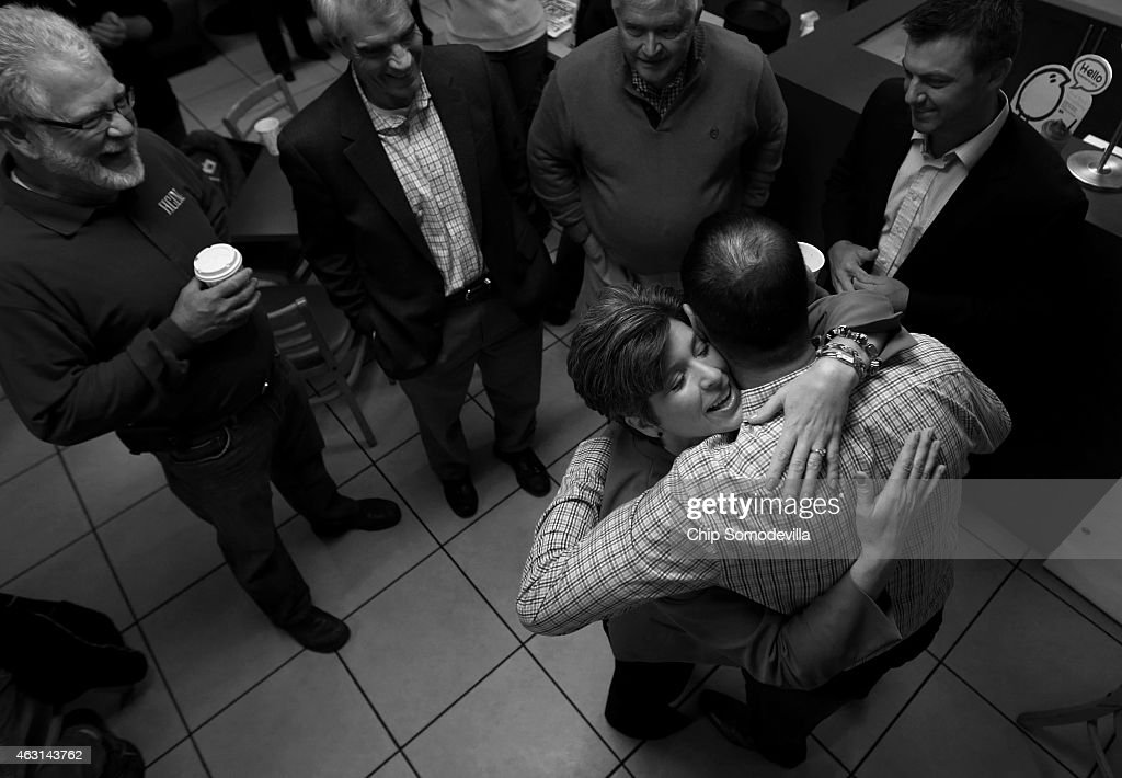 Republican U.S. Senate candidate Joni Ernst embraces a supporter as she greets customers at CJ's Bagel Basket during the kick off of her 'One More Thing' 24-hour campaign push to election day November 3, 2014 in Ankeny, Iowa. According to the polls, Ernst is in a neck-and-neck race with her opponent, Democratic candidate Rep. Bruce Braley (D-IA), and the election in Iowa could decide which party controls the U.S. Senate.