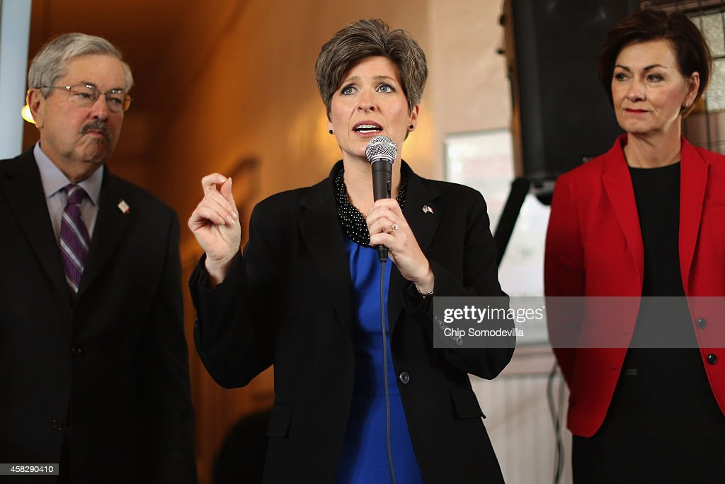 Republican U.S. Senate candidate <a gi-track='captionPersonalityLinkClicked' href=/galleries/search?phrase=Joni+Ernst&family=editorial&specificpeople=12731592 ng-click='$event.stopPropagation()'>Joni Ernst</a> (C), flanked by Iowa Gov. <a gi-track='captionPersonalityLinkClicked' href=/galleries/search?phrase=Terry+Branstad&family=editorial&specificpeople=985886 ng-click='$event.stopPropagation()'>Terry Branstad</a> (L) and Iowa Lt. Gov. Kim Reynolds, speaks during a campaign stop at the Amtrak Osceola Train Depot November 2, 2014 in Osceola, Iowa. A Des Moines Register poll published Saturday put Ernst seven points ahead of her opponent, Rep. Bruce Braley (D-IA), three days before the election. During a November 1, conference call, U.S. Senate Majority Leader Harry Reid (D-NV) told progerssive activists 'If we win Iowa, we're going to be just fine. Iowa is critical.'