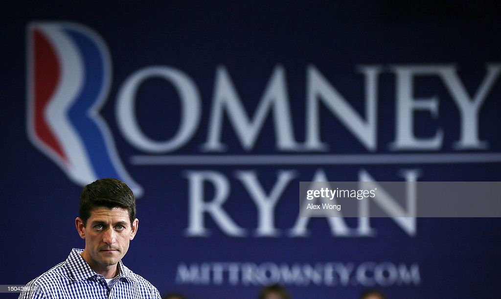 Republican U.S. Vice Presidential candidate U.S. Rep. Paul Ryan (R-WI) pauses as he speaks during a campaign rally at West Springfield High School August 17, 2012 in Springfield, Virginia. Rep. Ryan continued to campaign After being named former Massachusetts Gov. Mitt Romney's choice for Vice President.