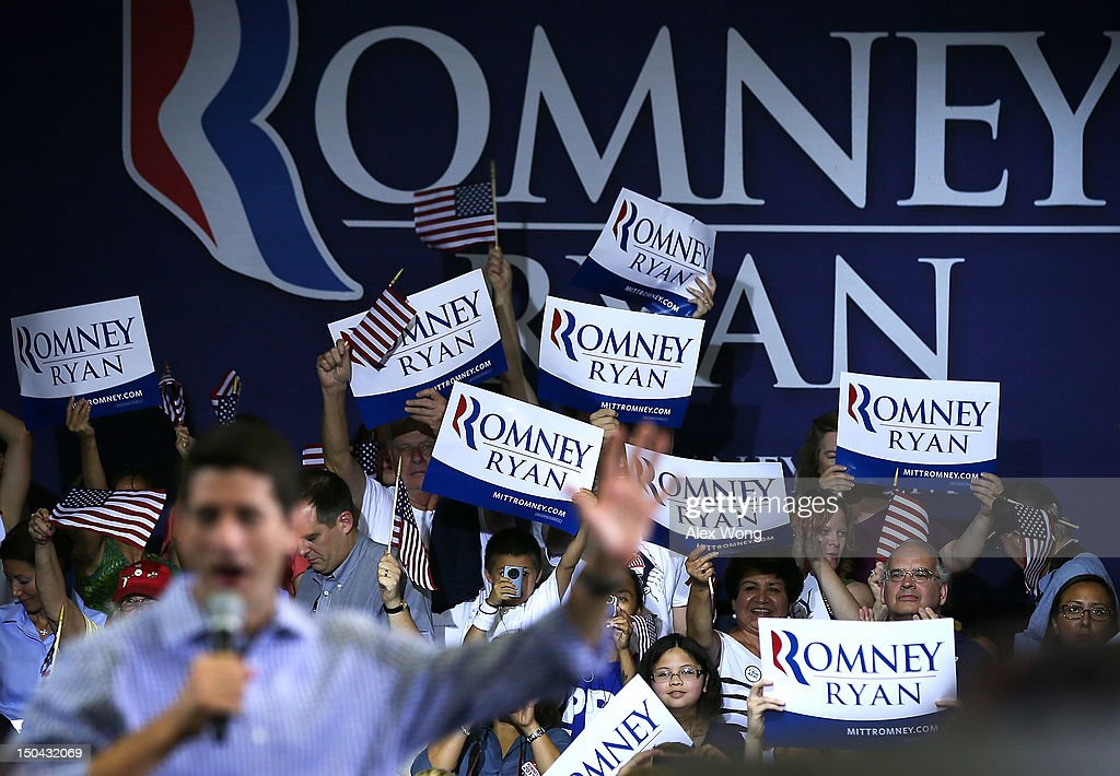 Republican U.S. Vice Presidential candidate U.S. Rep. Paul Ryan (R-WI) speaks during a campaign rally at West Springfield High School August 17, 2012 in Springfield, Virginia. Rep. Ryan continued to campaign After being named former Massachusetts Gov. Mitt Romney's choice for Vice President.