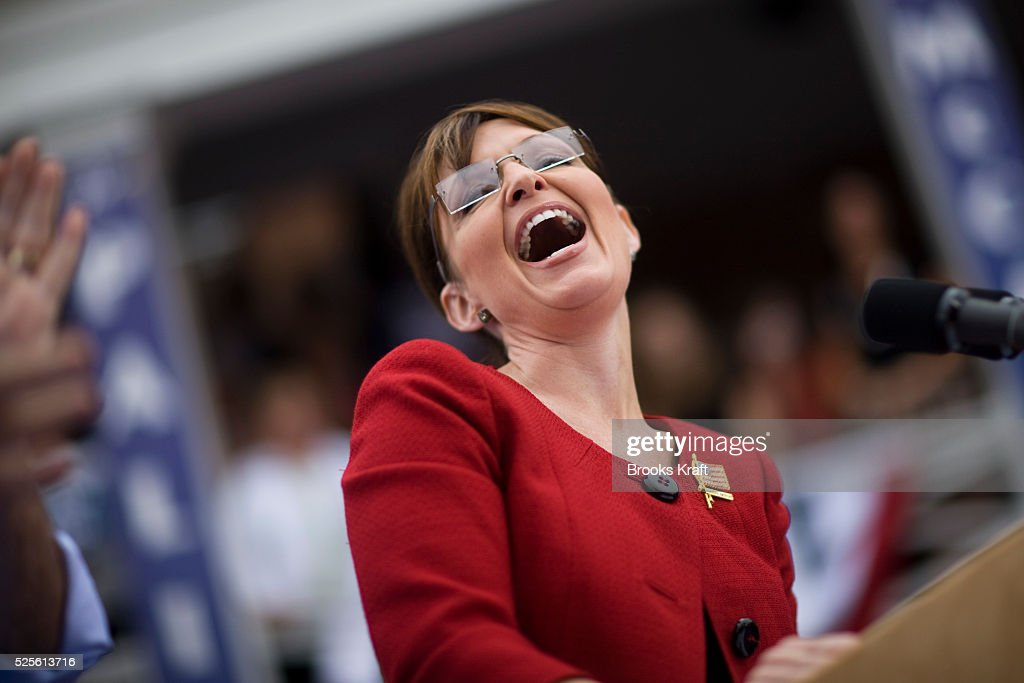 Republican US vicepresidential nominee and Alaska Governor Sarah Palin attends a rally in Lebanon Ohio