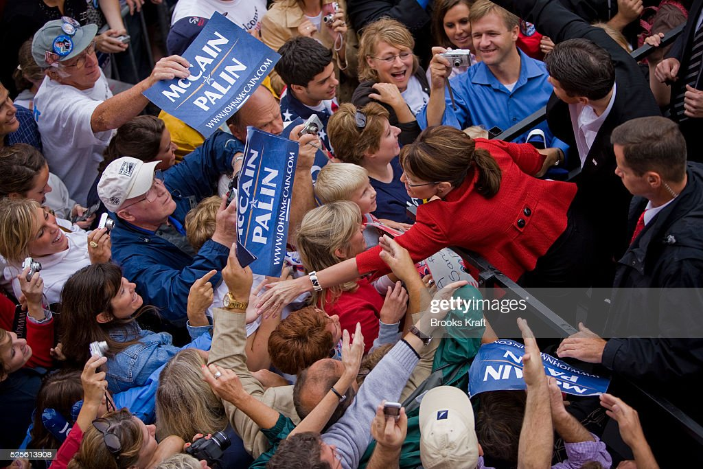 Republican US vicepresidential nominee and Alaska Governor Sarah Palin greets supporters at a rally in Lebanon Ohio