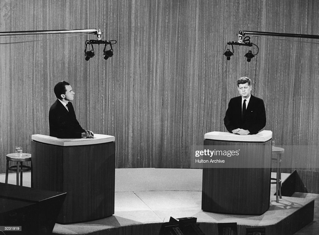Republican vice president Richard Nixon and democratic senator John F Kennedy take part in a televised debate during their presidential campaign