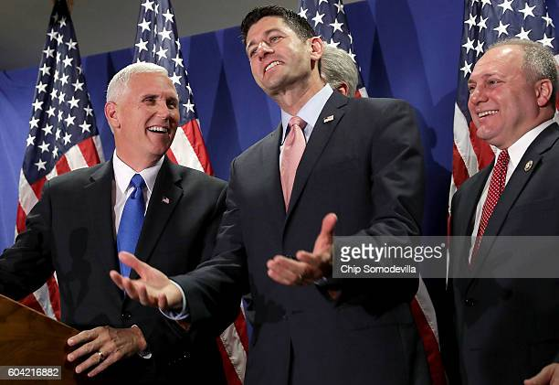 S Republican vice presidental candidate Gov Mike Pence joins Speaker of the House Paul Ryan House Majority Whip Steve Scalise and other members of...