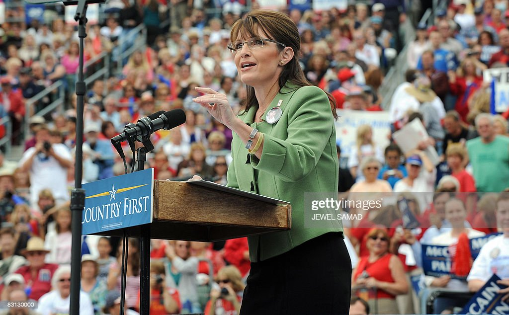 Republican vice presidential cadidate Sarah Palin speaks during a campaign rally at the Home Depot Center in Carson on October 4 2008 AFP PHOTO/Jewel...