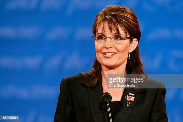 Republican vice presidential candidate Alaska Gov Sarah Palin speaks during the vice presidential debate at the Field House of Washington...