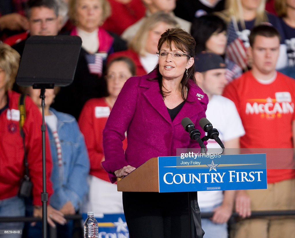 Republican vice presidential candidate Alaska Governor Sarah Palin speaks during a ' Road to Victory Rally ' at Verizon Wireless Music Center on...