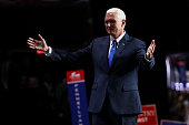 Republican vice presidential candidate Mike Pence acknowledges Republican presidential candidate Donald Trump after delivering his speech on the...